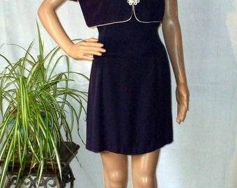 Womens 2 Piece Shift Dress with Matching Bolero Jacket Navy Blue with White Trim size 9 - 10 or M Vintage 1980s