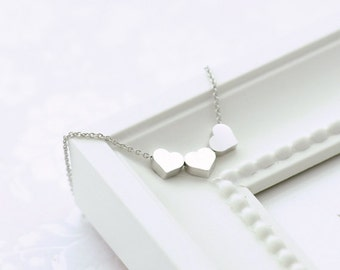 Silver Heart Necklace. Triple Hearts Necklace. Tiny Silver Hearts. Puffy Heart. Three Wishes. Valentines Gift. Gift for Her. Amore.