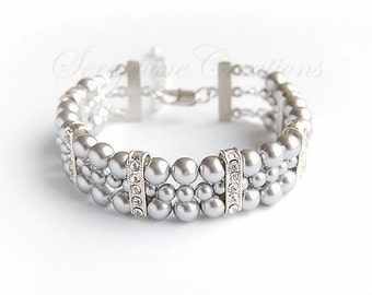 Grey Pearl Bracelet Bridal Bracelet Wedding Jewelry 3 Strand Cuff Bracelet Swarovski Cubic Zirconia Bling Bridesmaid Gift Classic B07