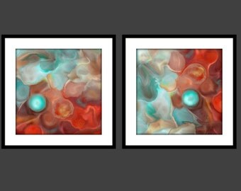 Abstract Art Painting Print BLUE PEARL set of 4 -Square Sizes- U Choose- Contemporary teal blue turquoise aqua red mint green white orange