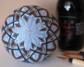 the more real - Japanese temari - zen home decor ornament - sky blue with blue & brown embroidery - crafting for a cause