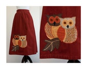 Owl Corduroy Skirt - Patchwork Owls on Rust / Tan Corduroy A-Line Skirt - 1970s / 70s Vintage