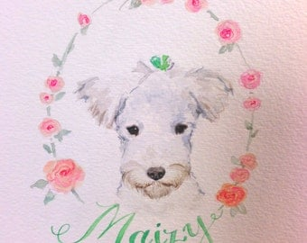 Custom Pet Portrait in Watercolor Personalized  with flowers and name- Corgi, Boston Terrier, Shiba, Frenchie, Painting from photo