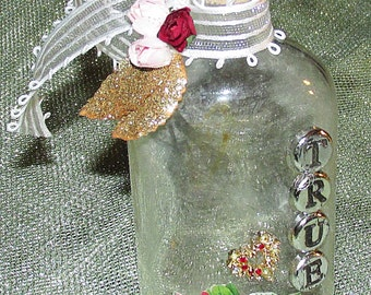 Antique Message in A Decorative Bottle - handmade - OOAK