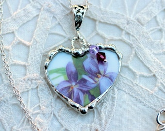 Necklace, Broken China Jewelry, Broken China Necklace, Heart Pendant, Purple Violets China, Sterling Silver