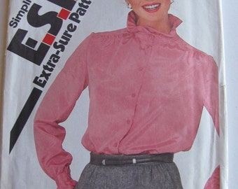 1980's Sewing Pattern - Simplicity 5340 Ruffled collar and cuff blouses Size 12-16 Uncut and factory folded