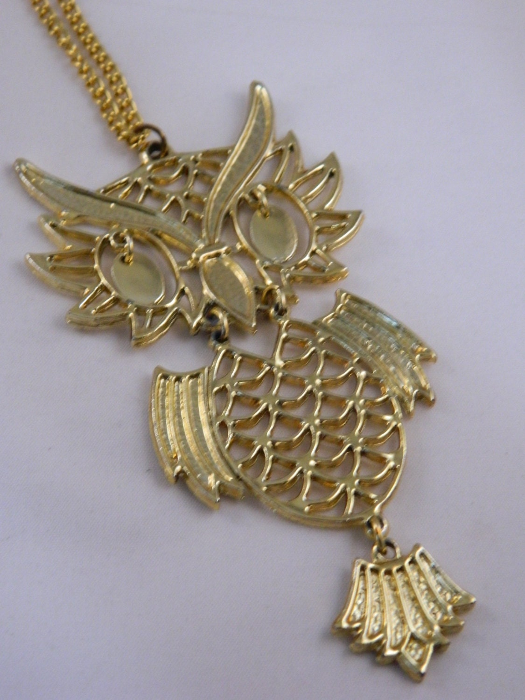 owl necklace vintage gold owl pendant 70s large owl