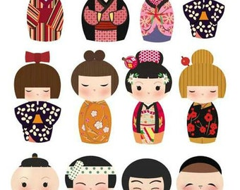 8cm high, Paper Flocking Tape Sticker, DIY Cloth Art Manual Cloth Deco Figure Hot Sticker Plated Backing Painting--Japaness Doll (ST31)