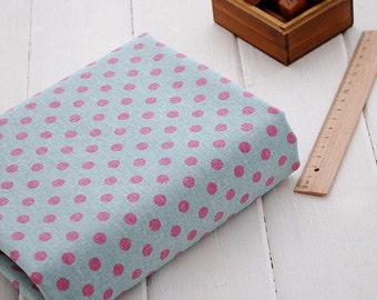 Half Yard of Cotton Linen Blended Fabric for craft,Blue Color, Pink Polka Dots,diy (C295)
