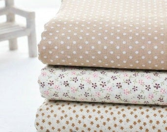 """Fat Quater Bundle / Light Brown Bundle Fabric / Quilting Fabric Bundle/ Light Brown Fabric - Cotton Fabric 3 Bundle each 20""""X30"""" (QT111)"""