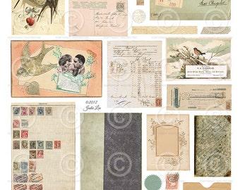 Printable Vintage Ephemera Scraps Children  - Digital Collage Sheet as an instant Download File