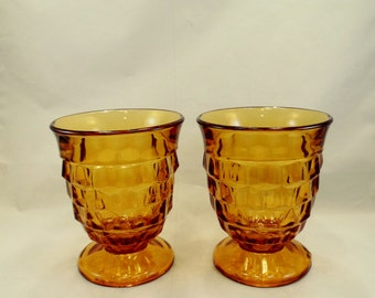 Pair of Amber Block Pattern Glasses Whitehall by Indiana Glass Gold Goblets