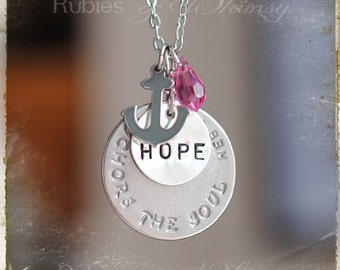 Bible verse Heb. 6:19, Hope, Anchor, Inspirational Gift, Anchor for the Soul, Cancer Awareness, Inspirational, Christian Gift