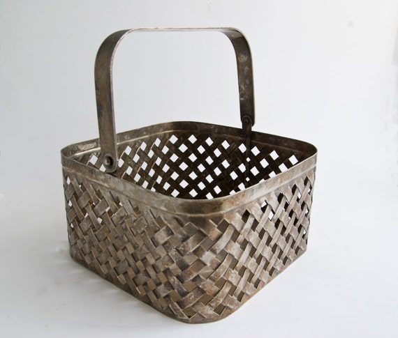 Woven aluminum basket : Vintage woven metal basket home decor by