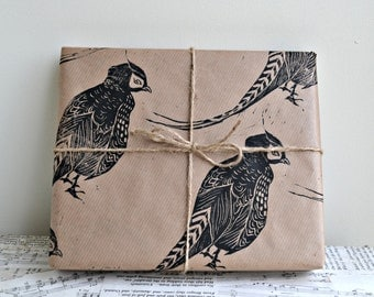 Pheasant Rustic Bird Hand Printed Wrapping Paper - One Sheet - 50 x 70 cms