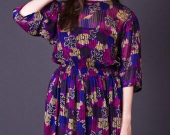 SALE 50% OFF 80s Vintage Sheer Floral Print Dress in Purple