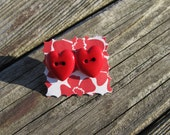Queen of Hearts! Red Heart Button Earrings