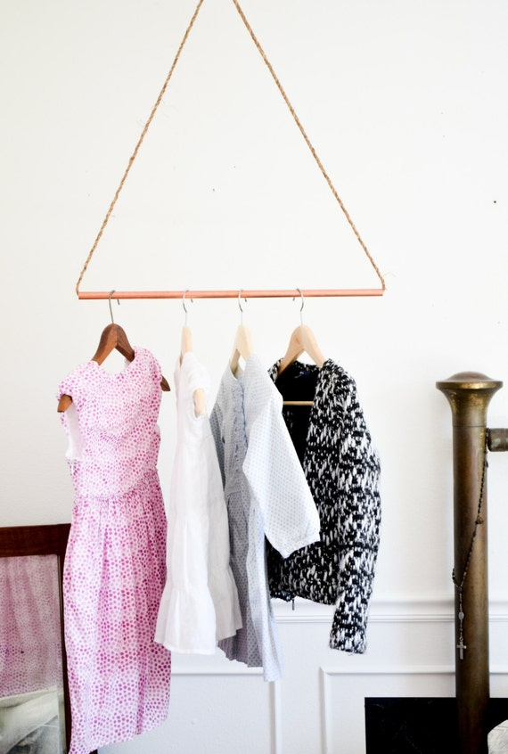 items similar to reclaimed copper pipe garment rack hanging clothes rack minimalist storage industrial modern geometric triangle jute rope on etsy - Hanging Clothes Rack