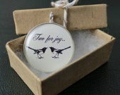 Magpie Bird Pendant Resin Black White Art Illustration Picture
