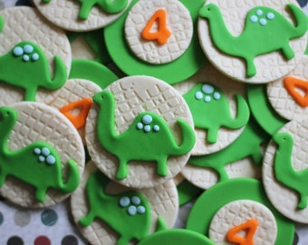 Our EXCLUSIVE Design Whimsical Dinosaur and Age Fondant Toppers - Perfect for Cupcakes, Cookies and Other Edibles