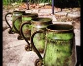 Scroll Handled Mug Set in Green Gloss