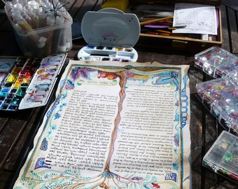 Text printed and handpainted ketubah- the fairy tale....on parchment paper
