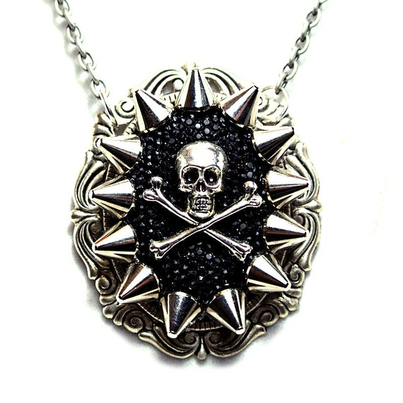 Spiked Rhinestone Skull and Crossbones Pendant - Free US Shippng