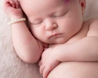 Newborn Headband -Purple Flowers Accented with Pearls - Newborn - 6 months