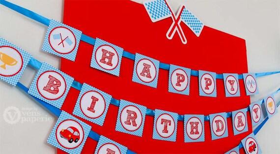Vintage Red Racing Car Birthday Party Diy Printable Happy