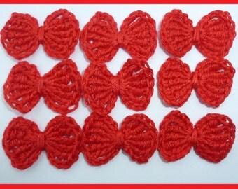 SALE Crochet bows, Crochet appliques, 9 small applique bows, cardmaking, scrapbooking, appliques , craft embellishments, sewing accessories.