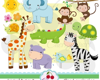 Jungle Animals digital clipart and digital papers pack  NO.AN028