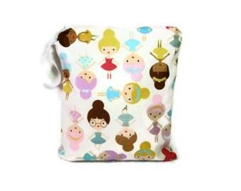 Ballerina wet bag waterproof cloth diaper zipper medium swim bathing suit pool beach girlfriends pastel