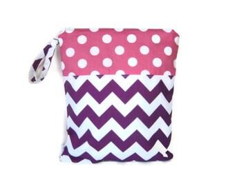 Purple Chevron  wet bag waterproof  pink polka dots cloth diaper zipper medium swim bathing suit pool beach girl  wetbag
