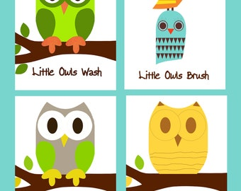 Owl Bathroom Decor Owl Prints 5x7 Owl Art Kid S Bathroom Decor Bathroom