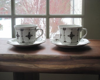 Pair Royal Staffordshire Homespun Tea Cups and Saucers