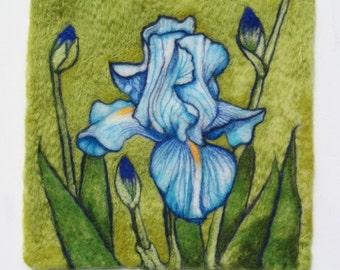 Needle Felted Wool Painting Blue Iris Evening Iris Flowers In Bloom Series CUSTOM ORDER ONLY
