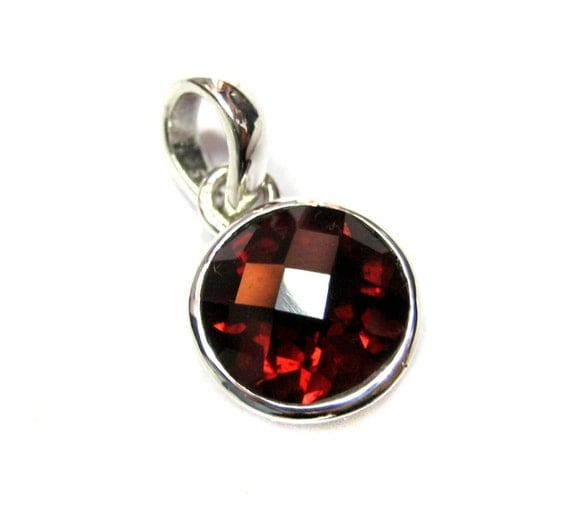 AAA Quality Mozambique Garnet Gemstone 925 Sterling Silver Pendant, 10 mm round Chekker Cut faceted Garnet january birthstone valentine gift