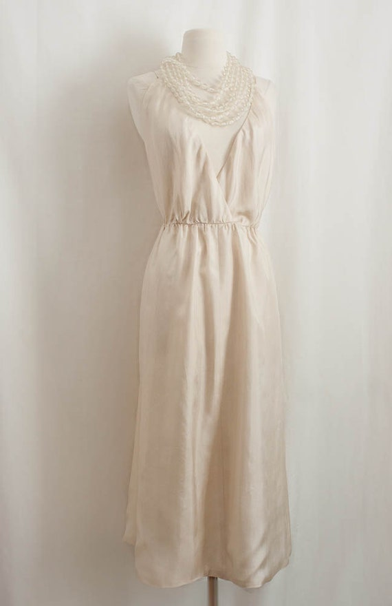 Vintage Haute Couture Designer -  Halter Dress / Silk Bridal / Open Back / Deep Plunge Neckline - V Neck