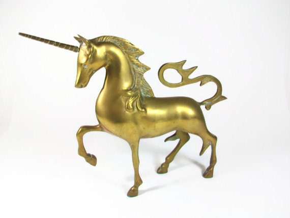 Brass Unicorn Figurine LARGE Statue Unicorns Hollywood Regency Fantasy