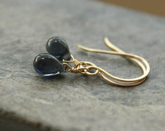 "Dark blue tear drop earrings gold fill delicate deep blue Czech glass drops simple wrap--""Midnight"""