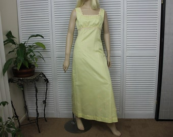 Vintage 1960s Yellow long Evening/Prom Dress Size S-XS