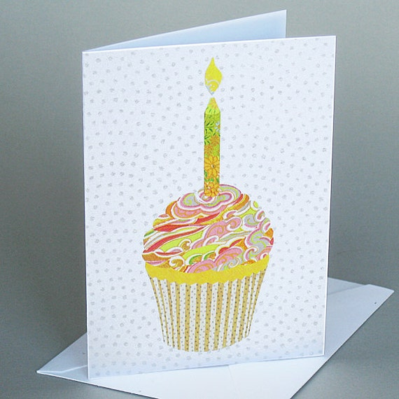 Cupcake: A blank birthday card , origami paper