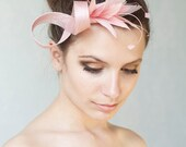 Pink fascinator  with feathers, wedding headpiece, feather headpiece, ivory, pink rose or white