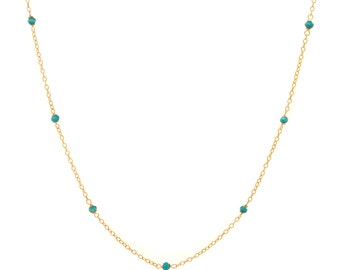 Delicate Gold and Turquoise Chain Necklace - 16in. Necklace - 14k Gold Filled - Small Faceted Turquoise Gemstones - Gold Chain