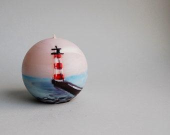 Handmade Candle Ball - Handpainted Lighthouse on the Breakwater - Home Gift - Lighthouse Decor - Nautical Decor - Beach Cottage Decor
