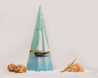 Handpainted Pyramid Candle - Lonely Sailboat Sea And Dunes - Nautical Pyramid Candle - Beach Cottage Decor - Marine Home Decor Marine Candle