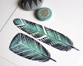 Emerald Feathers - Watercolor Painting - Archival Print