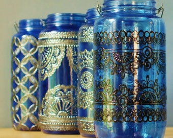 Moroccan Jar Lantern, Lapis Blue Glass with Black Detailing