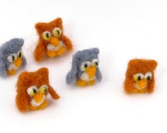 5 felt owls - miniature owl decorations - needle felted animals - brown and grey owls