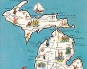 Vintage Michigan postcard with state map, Greetings from Michigan